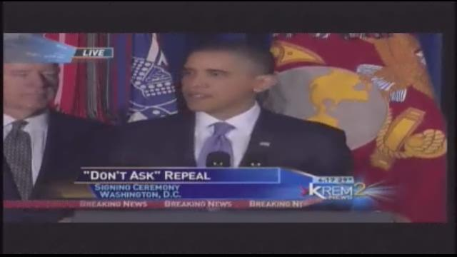 "Obama signs ""don't ask, don't tell"" repeal"