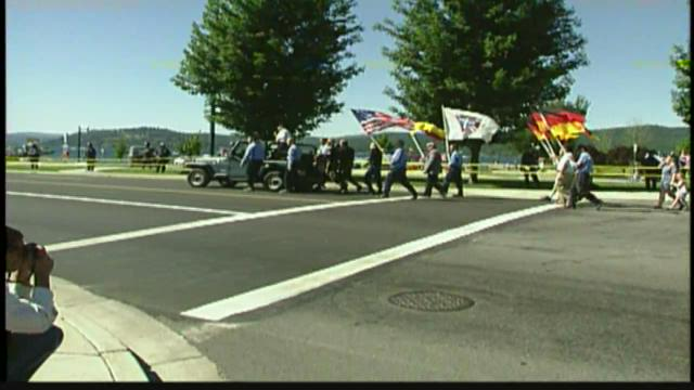 A ban on guns at parades in Coeur D'Alene, Idaho, stems from past white supremacist marches like this one.