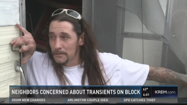 Transients camp out in motorhomes in NE Spokane