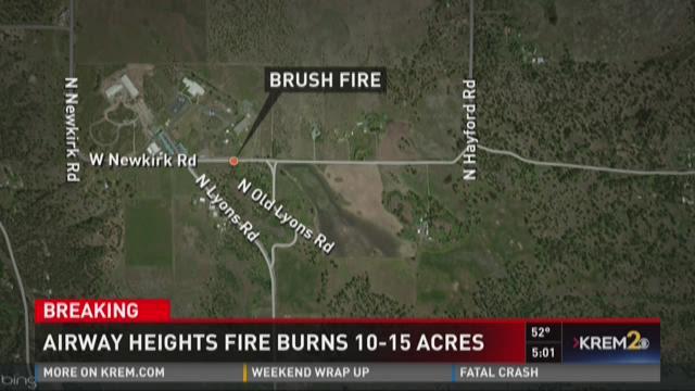Airway heights fire burns 10-15 acres