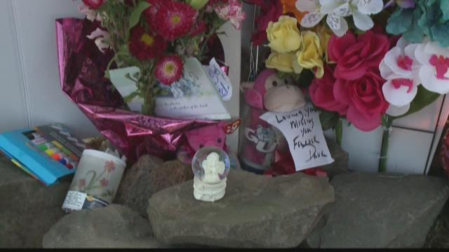 Memorial setup for Stephanie Meier the homeless woman