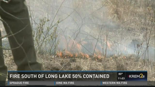 PHOTOS: Crews fight fire near Long Lake